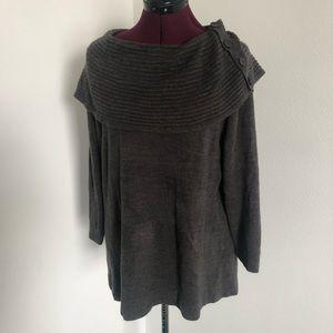 Sag Harbor Cowl w/ Button Detail Gray Sweater szXL